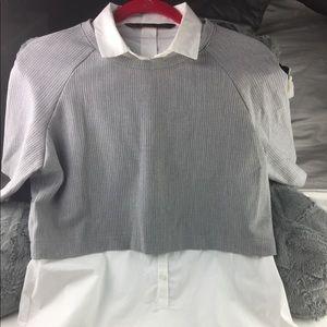 EUC Zara Trafaluc Sz L 2-in-1 work wear Tunic Top